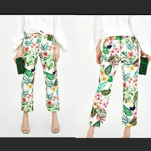 Zara Tropical High Rise Mom Fit Ankle Jeans